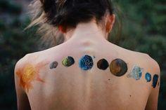 Creative solar system tattoo, this looks like paint Body Art Tattoos, I Tattoo, Dope Tattoos, Solar System Tattoo, Planet Tattoos, Back Painting, Skin Art, Body Mods, Tattoo Inspiration