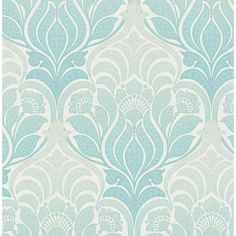 This large scale damask wallpaper has a stunning ombre effect fading from navy blue to cool grey. The intricate design features patterned accents and a textured background. Today's damask wallpaper draws on regal Victorian fabric and is synonymous wi Damask Wallpaper, Embossed Wallpaper, Wallpaper Panels, Wallpaper Online, Wallpaper Samples, Modern Wallpaper, Home Wallpaper, Wallpaper Roll, Peel And Stick Wallpaper