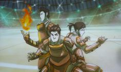 (From L to R): Mako, Bolin, and Korra - Pro-bending tournament.