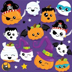 80% OFF SALE Halloween clipart commercial use, pumpkin clipart vector graphics…