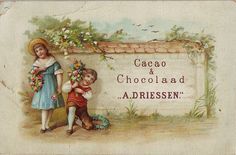 cacao driessen boy with flower spray and girl with flower wreath