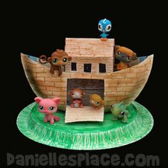 Noah's Ark Paper Plate Craft and Toy from www.daniellesplace.com