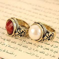 Europeiske og amerikanske smykker Vintage fasetterte runde perler og edelstener skåret ringer R470 – NOK kr. 9