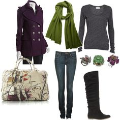 love the plum jacket with a green scarf