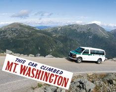 Mt. Washington Auto Road is America's oldest manmade tourist attraction. Explore the wonders of Mt. Washington's weather, scenery and history by driving your own vehicle or by taking a comfortable guided stage tour to the summit. Either way you will travel through time to a world above treeline and to an experience your family will never forget.