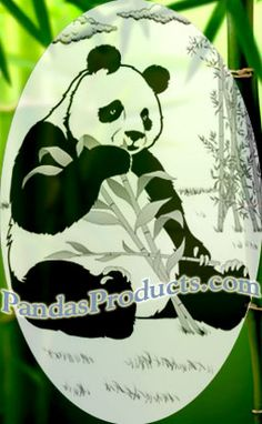 Panda Bear Decal Etched Decal for Glass Doors and Windows