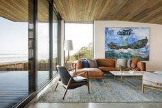 Cedar Walls And Ceilings Are On Display Throughout This Beach House In Oregon Photography by Lincoln Barbour JHL Design together with MOA Architecture have designed a modern beachfront house that sits on nbsp hellip Living Room Modern, Living Spaces, Polished Concrete Flooring, Cedar Walls, Beachfront House, Beach House Decor, Home Decor, Living Room Lighting, Kitchen Lighting