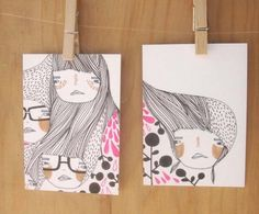 figuring things out-set of 2 original illustrations
