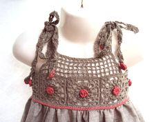 Free shipping organic flax linen dress /crochet by TheBabemuse, $48.00
