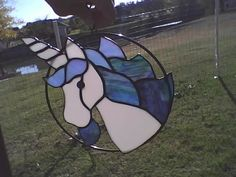 Stained Glass Unicorn Suncatcher by SunshineSuncatchers on Etsy