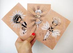 Set of 12 Postcards - Burlesque Beauties.