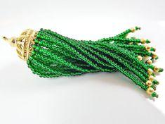 Long Emerald Green Beaded Tassel  22k Matte Gold by LylaSupplies, $10.00