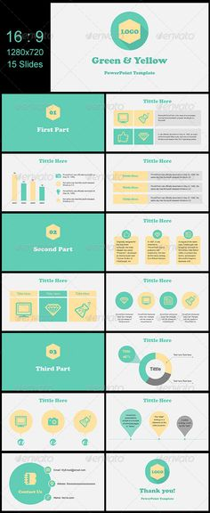 Presentation Templates - Green & Yellow | GraphicRiver, presentation, design, color pattern,