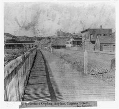 The view along Laguna Street leading up to the Protestant Orphan Asylum. Photo: Library Of Congress/Courtesy Places In California, California History, San Francisco Earthquake, San Francisco California, Modern City, Library Of Congress, Best Cities, Back In The Day, Golden Gate