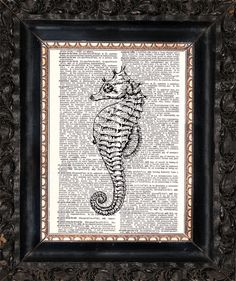 Seahorse On Dictionary Page Upcycled Book by HeatherMeadOriginals