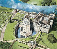 Reconstruction of Raglan Castle around 1620.