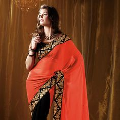 Dark Peach and #Black Faux Georgette #Saree with Blouse