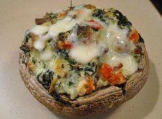 Spinach & Ricotta Stuffed Portobello Mushrooms Recipe / used chorizo instead of bacon...delicious!