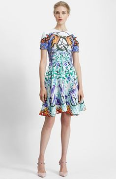 Mary Katrantzou Print Pebbled Fit & Flare Dress available at #Nordstrom