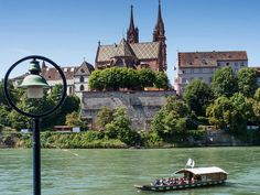 Basel Switzerland - crossing the Rhine on a ferry. Basel, Switzerland, Places Ive Been, Attraction, Mansions, House Styles, Google, Holiday, Kids