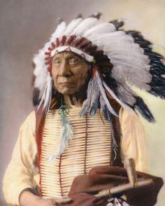 Chief Red Cloud Makhpia-sha Oglala Sioux Native American Indian 1880. Hand Color Tinted Photograph.