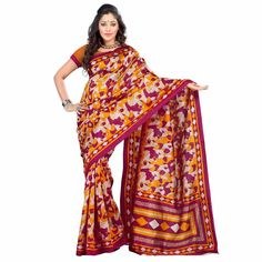 Multi Colored Printed Silk #Saree at Rs. 395 Only. To Buy Click here>  #apparelforwomen