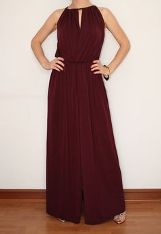 Wide Leg Jumpsuit Palazzo Pants in Burgundy for by KSclothing