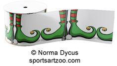 Christmas Golfing Elf Feet Ribbon Ribbon by SportsArtZoo #golf #Christmas #ribbon