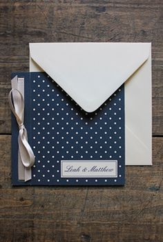 Navy and Cream Polka Dot Wedding Invitations with ribbon