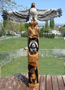 Eagle, Wolf, Bear and Buffalo Totem Pole