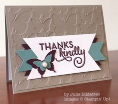 SU! One Big Meaning stamp set, stamped twice and offset; Fluttering embossing folder, using debossed side - Julie DiMatteo