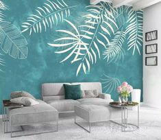 Leaf Wallpaper Palm Leaves Mural Exotic Home Decor Natural Cafe Design Living . - Leaf Wallpaper Palm Leaves Mural Exotic Home Decor Natural Cafe Design Living Room Bedroom Entrance - Café Design, Design Ideas, Wall Paint Patterns, Light Green Walls, Wall Painting Decor, Wall Painting Living Room, Creative Wall Painting, Dream Painting, Wall Paintings