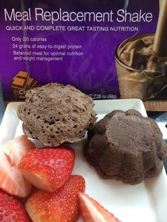 Mix one AdvoCare Meal Replacement Shake with 1 egg, 2 Tbsp water, and 1/3 banana in blender. Pour into greased mug and cook in microwave for 2 minutes. (I cooked these in silicone muffin baking cup...