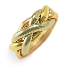 4-Band puzzle ring in 3 different colors of solid gold