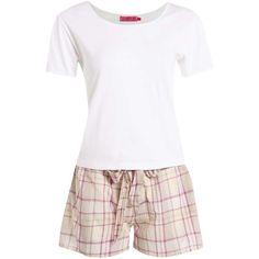 Boohoo Wendy White Tshirt & Purple Check Short Set ($20) ❤ liked on Polyvore featuring intimates, sleepwear and pajamas