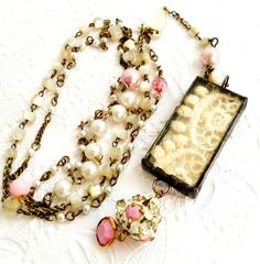 RESERVED for Shireen, Vintage Rosary Assemblage Necklace, Lace Shadowbox Necklace, Vintage Lace And Bead Chain Rosary Style Necklace. $75.00, via Etsy.