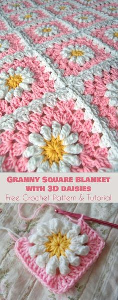 Granny Square Blanket with 3D daisies [Free Crochet Pattern and Tutorial] Follow us for ONLY FREE crocheting patterns for Amigurumi, Toys, Afghans and many more