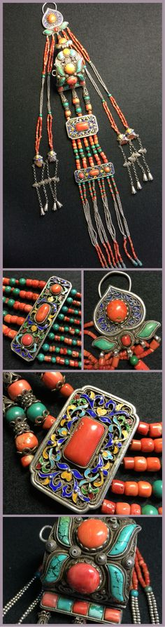 A pair of Mongolian woman's ear ornament. Turquoise and coral mounted on…