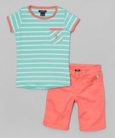 Love this Calypso Peach Stripe Tee & Capri Pants - Toddler & Girls by U.S. Polo Assn. on #zulily! #zulilyfinds