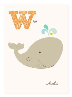 W is for Whale  5x7 art print  nursery art for by SeaUrchinStudio, $4.50