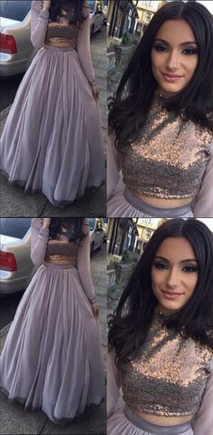 Two Piece Bateau Floor-Length Long Sleeves Grey Stretch Satin Prom Dress with Sequins Moco Dresses Prom Dresses For Teens, Prom Dresses 2017, Modest Dresses, Simple Dresses, Pretty Dresses, Grey Prom Dress, Makeup For Grey Dress, Wedding Dress, Evening Gowns With Sleeves