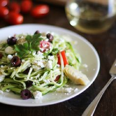 Mediterranean Zucchini Noodle Pasta - making pasta out of vegetables is fun!