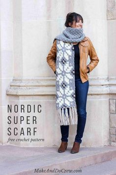[FREE Pattern] This C2C Crochet Super Scarf Is a Fabulous Addition to Your Wardrobe!It's a luxurious super scarf with a beautiful Nordic-inspired motifs