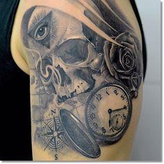 Skull pocket watch tattoo ideas