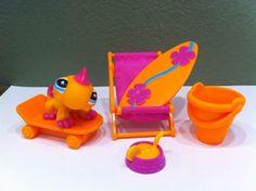Littlest Pet Shop Lot Iguana Lizard #2238 + Beach Sand Accessories