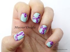 Tatoo nailart (Blue and purple freehand nailart ; Julep)