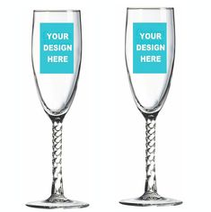 Design Your Own Champagne Flute with Twisted Stem, Custom Champagne Glasses Personalized Playing Cards, Personalized Party Favors, Personalized Items, Glass Votive, Wine Glass, Champagne Glasses, Bottle Stoppers, Design Your Own, Special Events