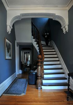 Second Empire staircase in Paris, Ontario. Note newell post, lovely.