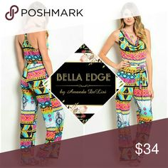 Colorful multiprint cowlneck jumpsuit 92% POLYESTER, 8% SPANDEX. Made in the USA. This bold and colorful jumpsuit features eye catching hues of yellow, pink, white, and all sorts of blue in a multiprint pattern. Definitely a piece to stand out in the most fashionable way. Sizes small to large. Bella Edge Boutique  Pants Jumpsuits & Rompers