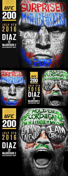 Nate Diaz vs Conor McGregor #UFC200 fight poster : if you love #MMA, you'll love the #UFC & #MixedMartialArts inspired fashion at CageCult: http://cagecult.com/mma